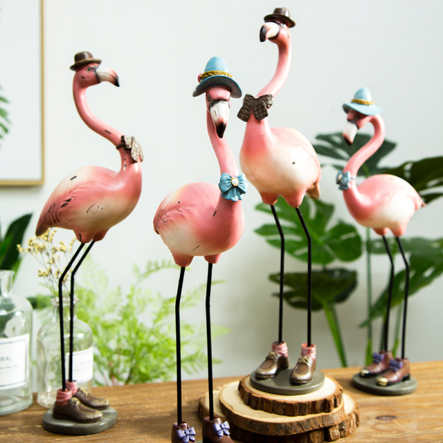 Bomarolan 1 Piece Resin Pink Flamingo Home Decor Figurine Hot Statuettes For Office
