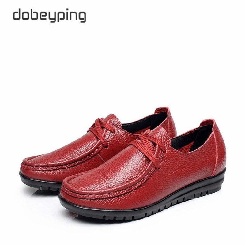 À Cuir 35 Casual Mère Véritable En Taille De Chaussures Haute Black darkbrown Lacets Mocassins 43 red Appartements Grande Femmes Qualité Doux qtZaw87wC