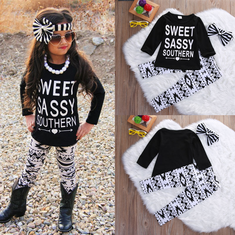 Hot Fashion Baby Kids Girls Outfits Set Letters Long Sleeve T-shirt Tops Printing Pants Leggings Headband Clothes Set Kids Girl  2017 new arrival 3pcs baby boys long sleeve t shirt tops braces trousers clothes fashion kids outfits set for 1 6y