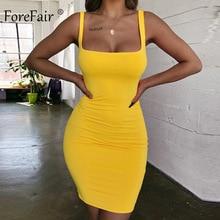 Forefair Spaghetti Strap Sexy Bodycon Dress Summer Yellow Neon Green Black Orange Elegant Sleeveless Mini Short Dress Women