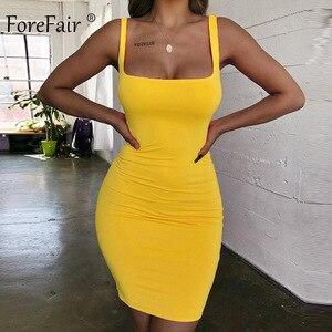 Forefair Spaghetti Strap Sexy Bodycon Dress Summer Yellow Neon Green Black Orange Elegant Sleeveless Mini Short Dress Women(China)