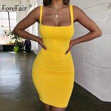 Forefair spagetti kayışı seksi Bodycon elbise yaz sarı Neon yeşil siyah turuncu zarif kolsuz Mini kısa elbise kadınlar