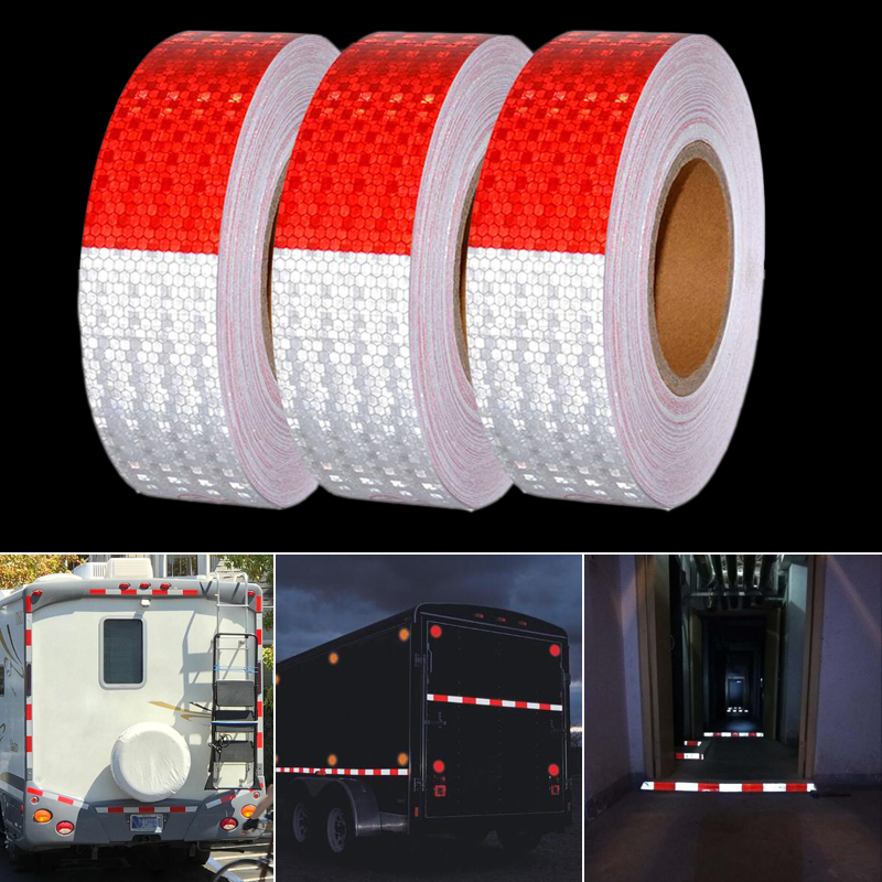 5cmx5m Reflective Tape Safety Caution Warning Reflective Adhesive Tape Sticker For Truck Motorcycle Bicycle Car Styling