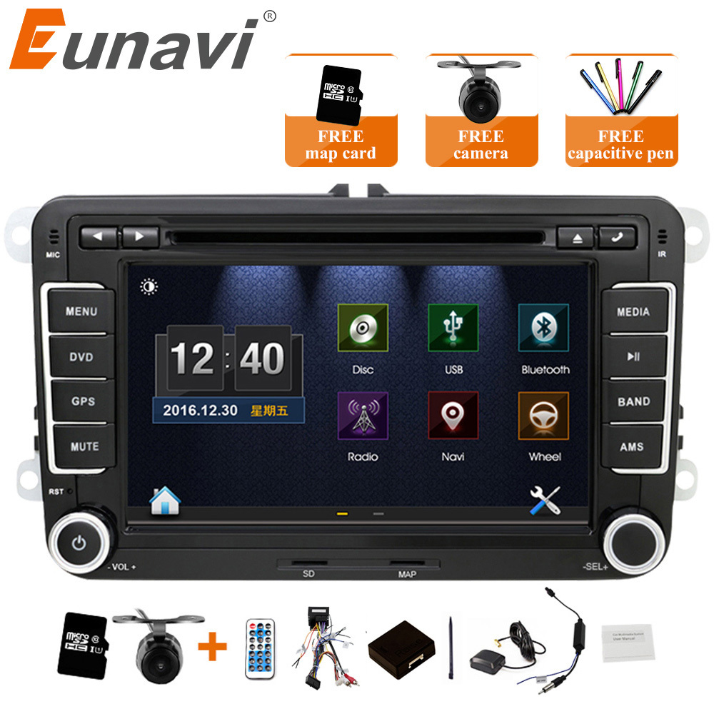 Eunavi 2 Din Car DVD Radio 7'' HD For VW POLO GTI GOLF 5 6 MK5 MK6 JETTA PASSAT B6 Touran Sharan With GPS Navigation Radio RDS ljhang 7 inch 2 din advanced car dvd gps navigation for vw b6 passat jetta touran sagitar golf radio auto audio headunit stereo