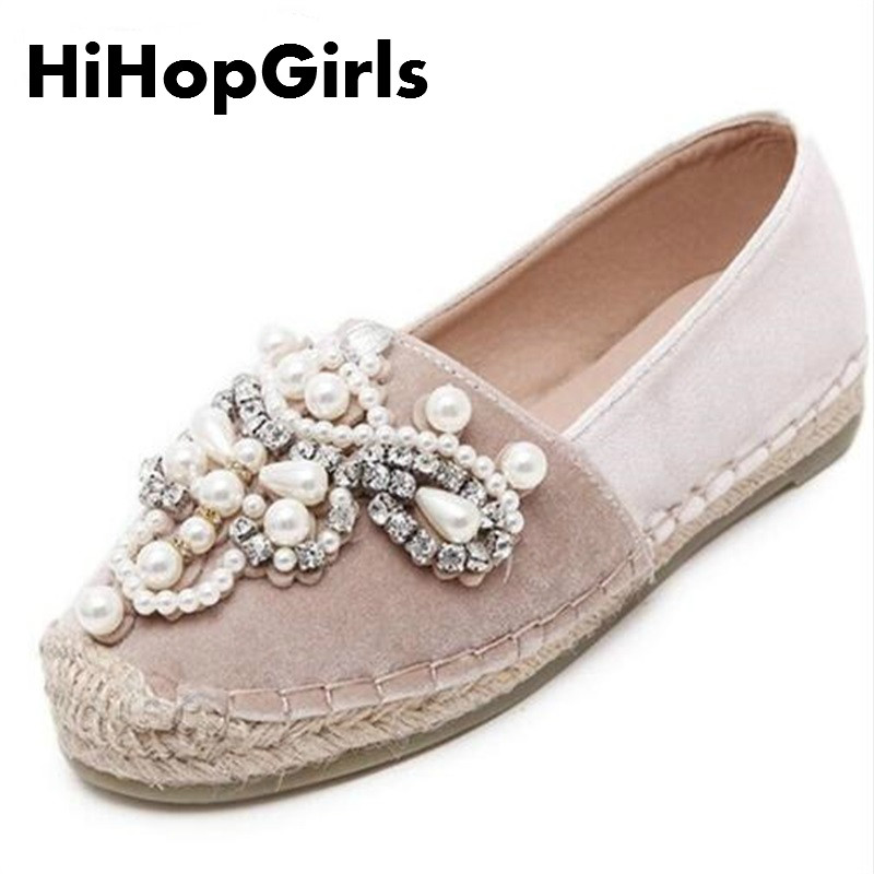 HiHopGirls Autumn Women Flats loafer Round Toe espadrilles Pearl Comfortable Hemp Bottom Frisherman Shoes wholesale Ship DHL spring autumn women loafer pointed toe pearl comfortable women flats shoes slip on fashion pu leather women s flat with shoes