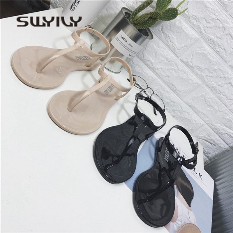 SWYIVY Woman Sandals Jelly Shoes 2018 Summer Flat T Straped Simple Female Holiday Beach Sandals Woman Casual Shoes Sandals PVC poadisfoo woman shoes summer simple flat fish head sandals solid color elastic student shoes south korea sandals hykl 260