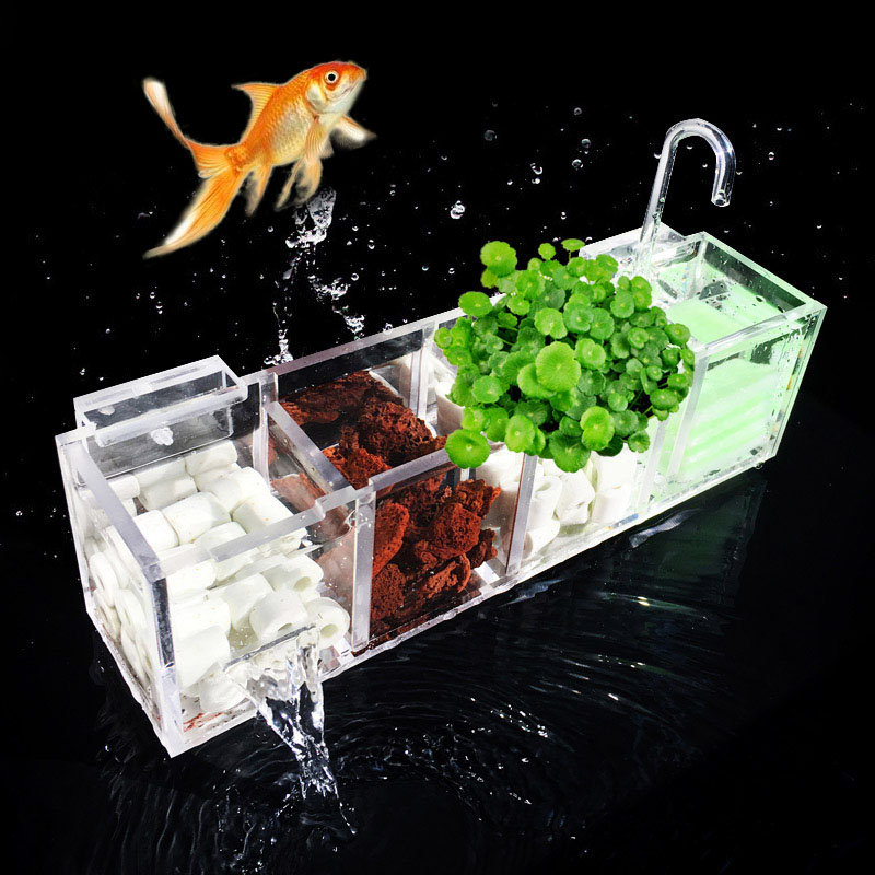Fish Tank filtro de la Caja acrílico acuario oxígeno aumento Filtros de agua sin agua e2s