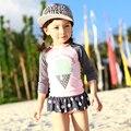 Muchachas del traje de baño dulce ice cream princesa uno junta las piezas de manga larga niños traje de baño con volantes traje de baño para niños traje de baño