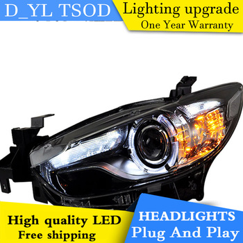 D_YL Car Styling for Mazda6 Atenza Headlights 2014 Atenza LED Headlight DRL Lens Double Beam H7 HID Xenon bi xenon lens
