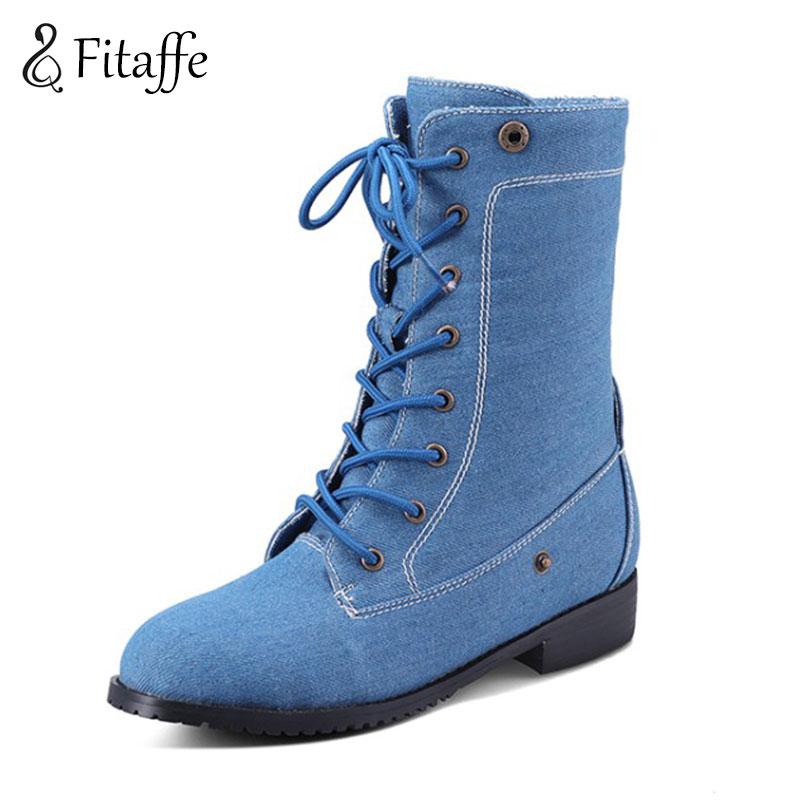 Fitaffe Fashion Women Boots Denim Blue Martin Boots Lace up Shoes Female Footwear Low Heel Woman Boots Chunky Botton Warm Botas цены онлайн