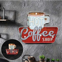 Coffee Vintage LED Light Neon Signs Decorative Painting For Pub Bar Restaurant Cafe Advertising Signage Hanging Metal Signs New