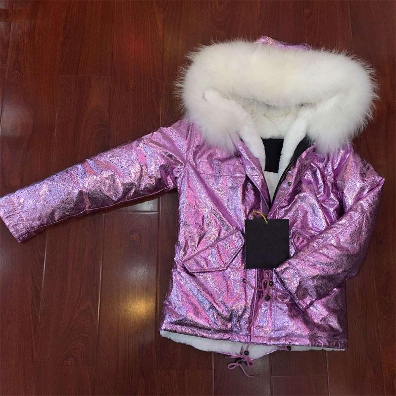 Elegant Purple foil leather women jacket with white fur hooded,Italy brand women warm faux fur jacket