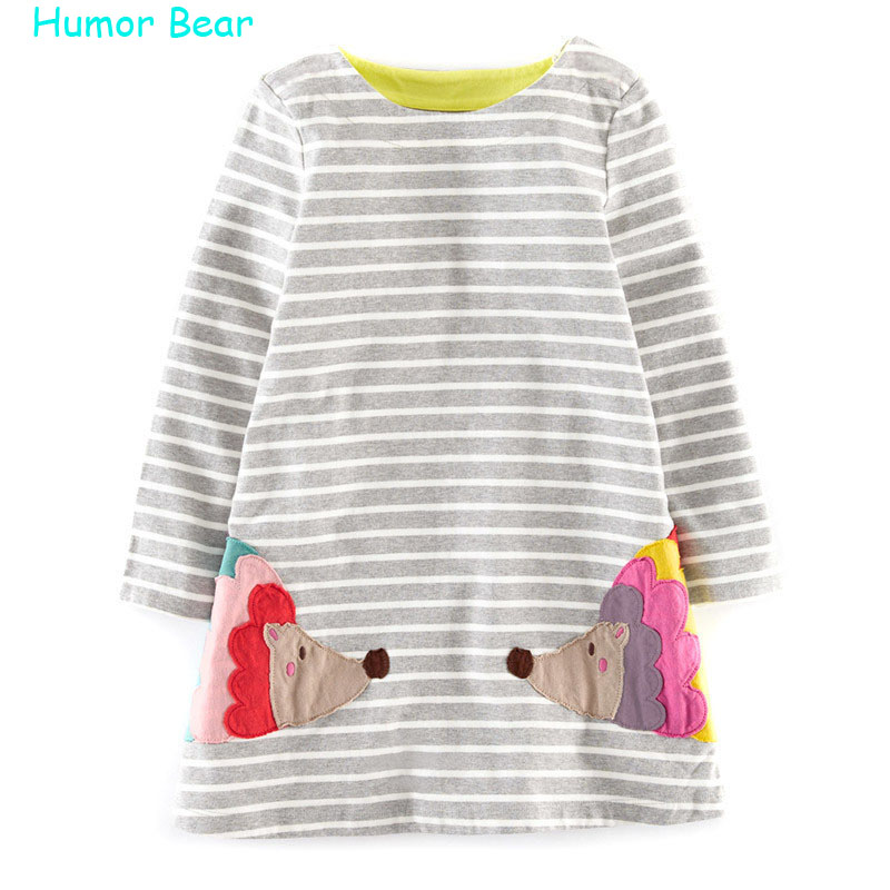 Humor Bear Brand Princess Dress Party Dresses Children Clothing Striped Character Baby Girls Dress Denim Long Sleeve