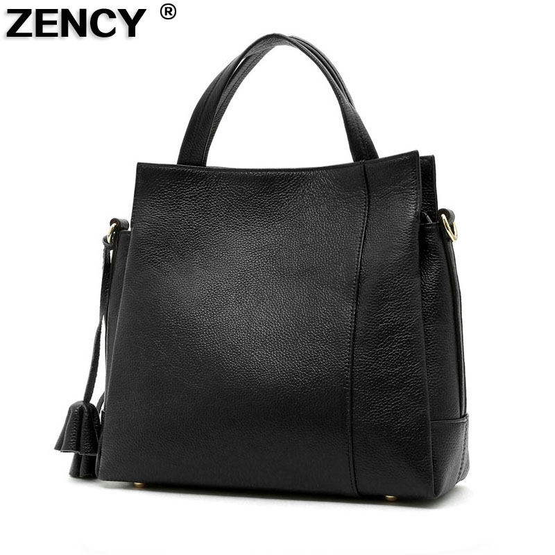 ZENCY 2017 New 100% Top Layer Genuine Cow Leather Women Shopping Handbags Famous Brand Tote Shoulder Crossbody Messenger Bags zency new women genuine leather shoulder bag female long strap crossbody messenger tote bags handbags ladies satchel for girls