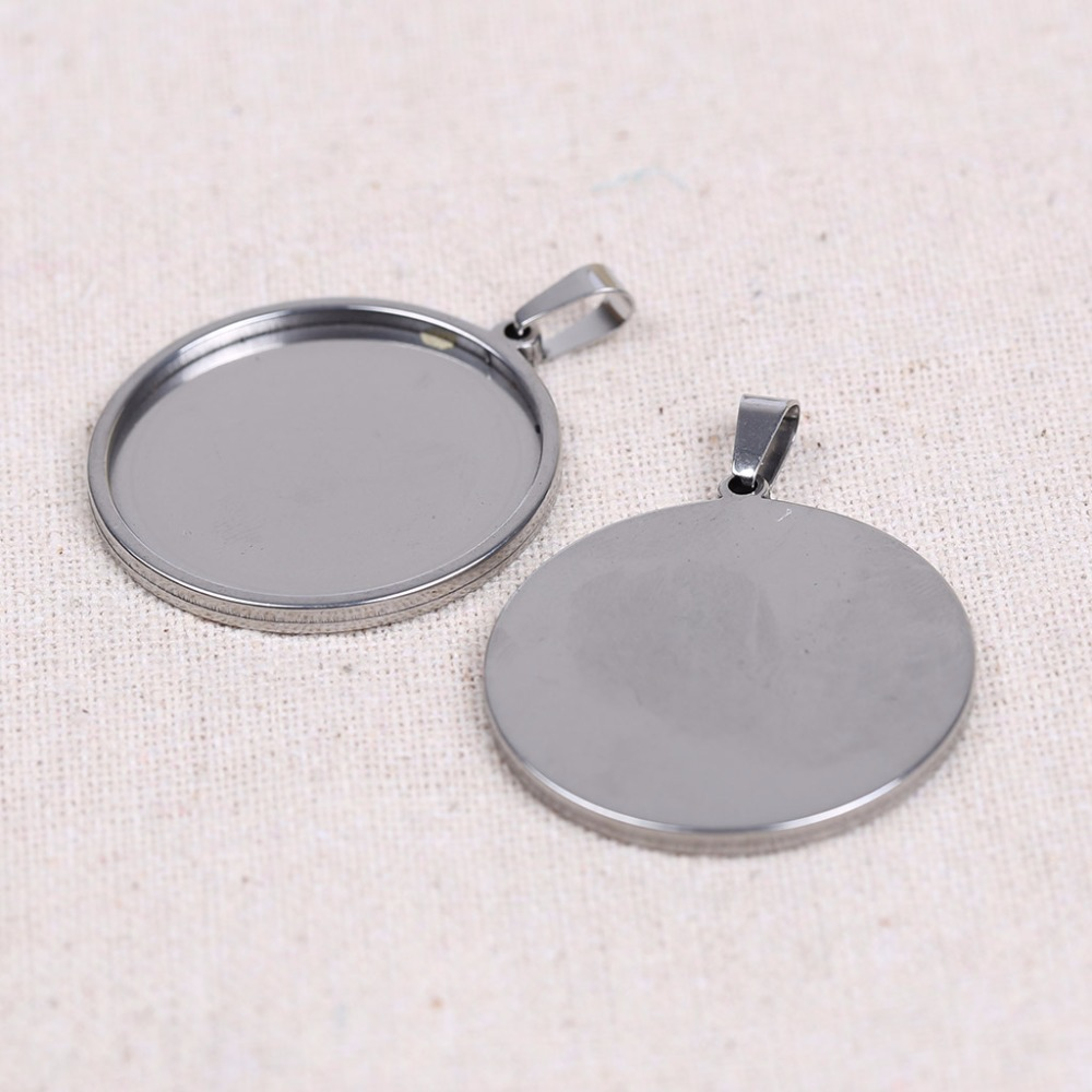 onwear 5pcs/lot stainless steel 25mm 30mm 35mm cabochon base setting round blank pendant trays for jewelry necklace making mibrow 10pcs lot stainless steel 8 10 12 14 16 18 20mm blank french lever earring tray cabochon setting cameo base jewelry
