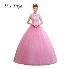 Penghantaran Percuma Tinggi Kolar Lace Pakaian Perkahwinan Pink Vintage Floor Length Pengantin Ball Gowns Vestidos De Novia Casamento C-027