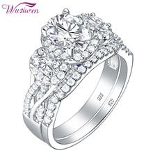 Wuziwen 3.5 Ct סגלגל צורת AAA זירקון 925 טבעות כסף סטרלינג לנשים כחול קריסטל חתונה טבעת סט תכשיטים אופנתיים מתנה