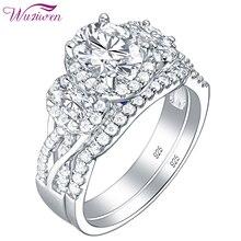 Wuziwen 3.5 Ct Oval şekil AAA zirkon 925 ayar gümüş yüzük kadınlar için mavi kristal alyans seti Trendy takı hediye