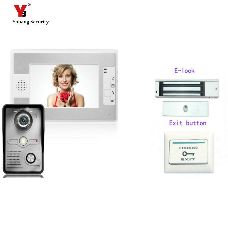 Yobang Security 7Inch Video Door Phone Doorbell Intercom System Kit 1-Camera 1-Monitor Night Vision Door Bell with Electric lock new 7 inch color video door phone bell doorbell intercom camera monitor night vision home security access control