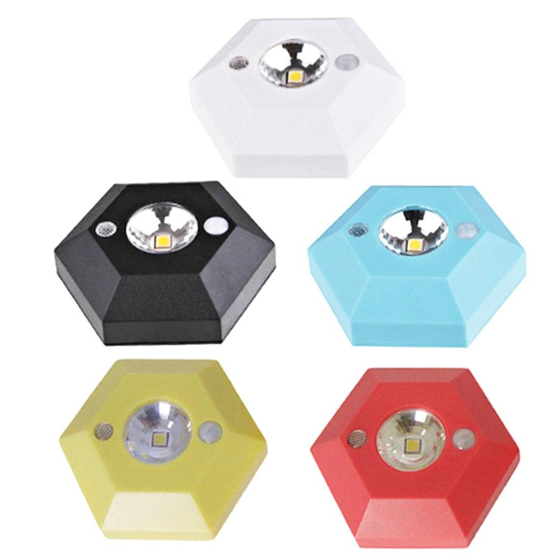 Hexagon Body Induction Lamp 1pc Motion Sensor Light 4.5V High-brightness LED Wardrobe Corridor Door Lock Drawer Lamp