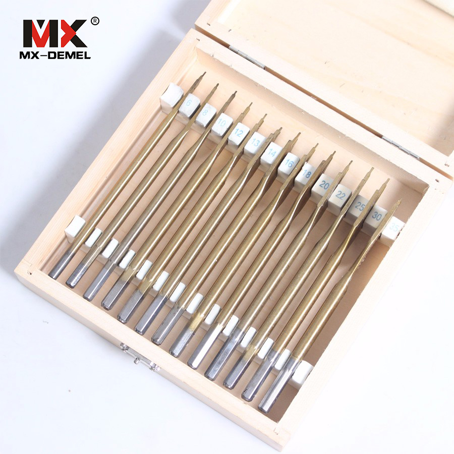 цена на MX-DEMEL 13 pcs/set Flat Spade Drill Bits Set Titanium Coating Wood Boring Bit 1/4 Hex Shank Woodworking Power Tool Accessories