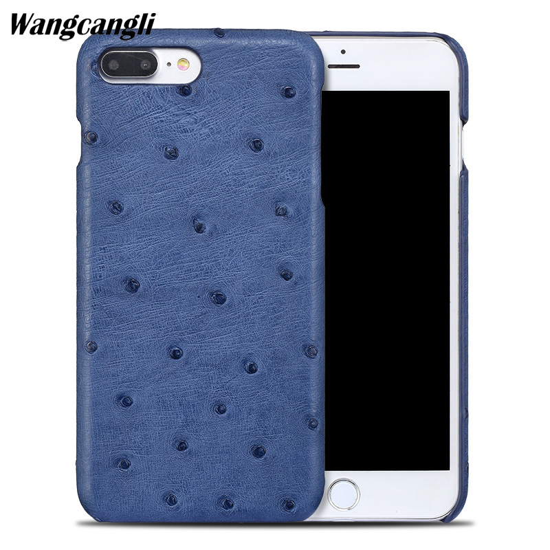 Wangcangli New half-pack mobile phone case for iphoen 7 case ostrich skin phone case Genuine Leather phone protection caseWangcangli New half-pack mobile phone case for iphoen 7 case ostrich skin phone case Genuine Leather phone protection case