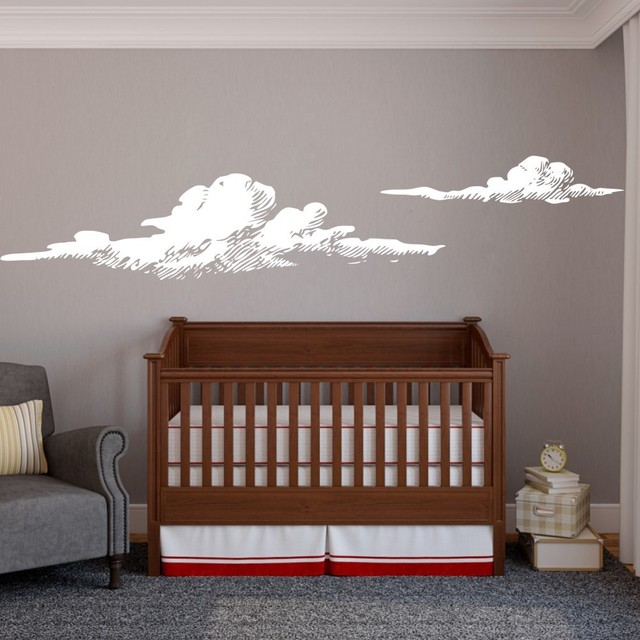 Nursery Wall Decals Clouds Wall Decals Cloudy Weather Vinyl - Nursery wall decals clouds