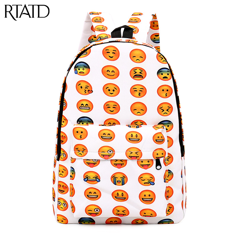 Canvas Backpack School Backpack For Teenager Book Bags Unisex Expresion Printing Travel Bolsa Big B002