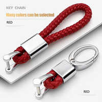 Leather Hand Woven Keychain Metal key rings Chains Customize Personalized Gifts Car Key Holder For Mercedes Benz Auto Keyring