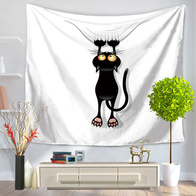 Cat And Mouse Designs Print Wall Tapestry Fabric Indian Bedroom Decor  Hippie Tapestries Cartoon Wall Hanging