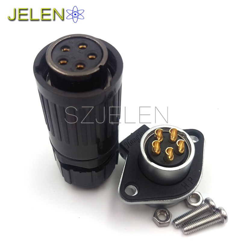 HE20, Waterproof 5-pin connectors, 5 pin plug connector(male), 5 pin socket connector(female),Car charger connector jelen hp20 series 7 pin industrial connectors plug socket aviation connector power charger male and female connectors 7 pin