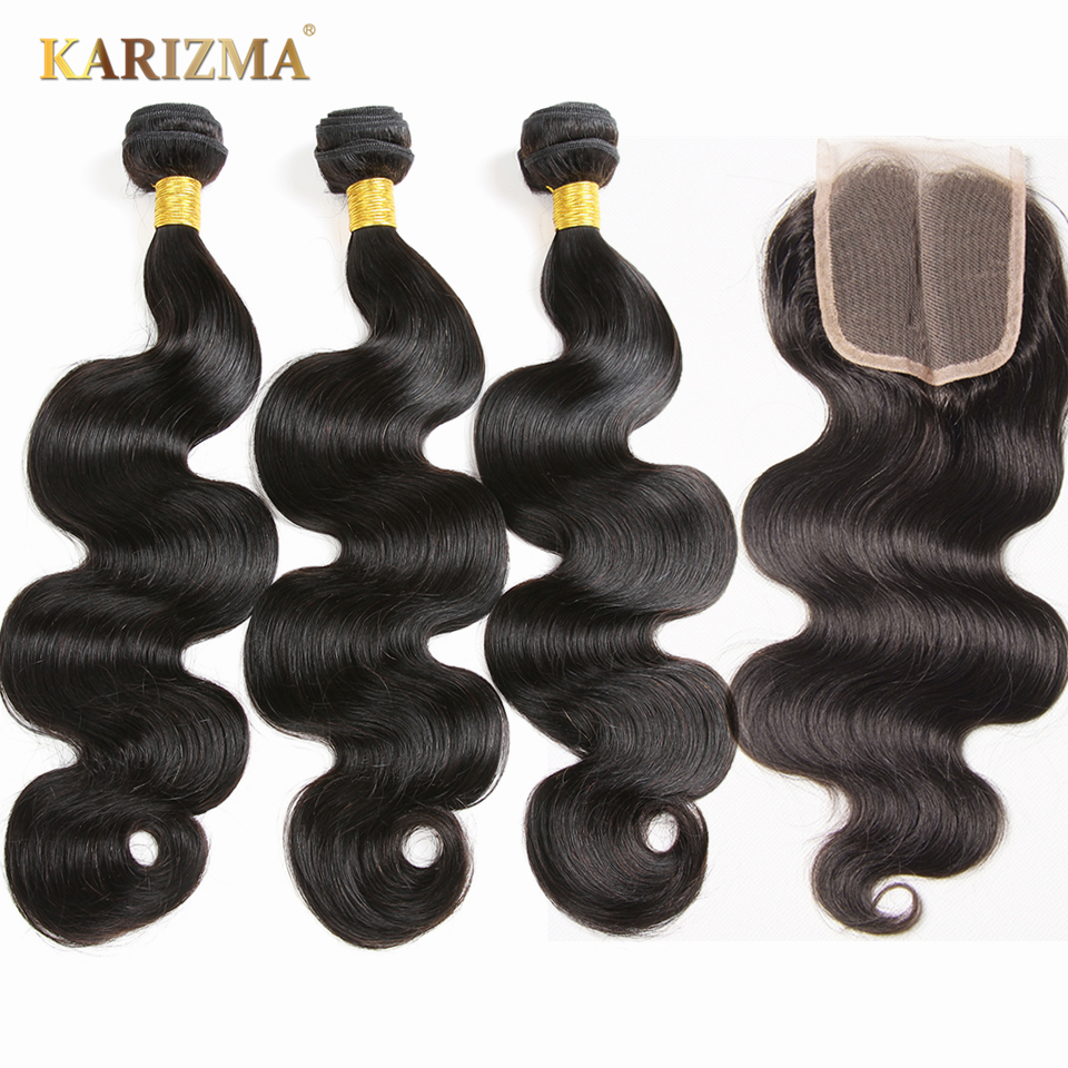 Brazilian Body Wave Bundles With Closure Remy Human Hair 3 Bundles With Closure 100/pc Karizma Hair Extensions Brazilian Hair