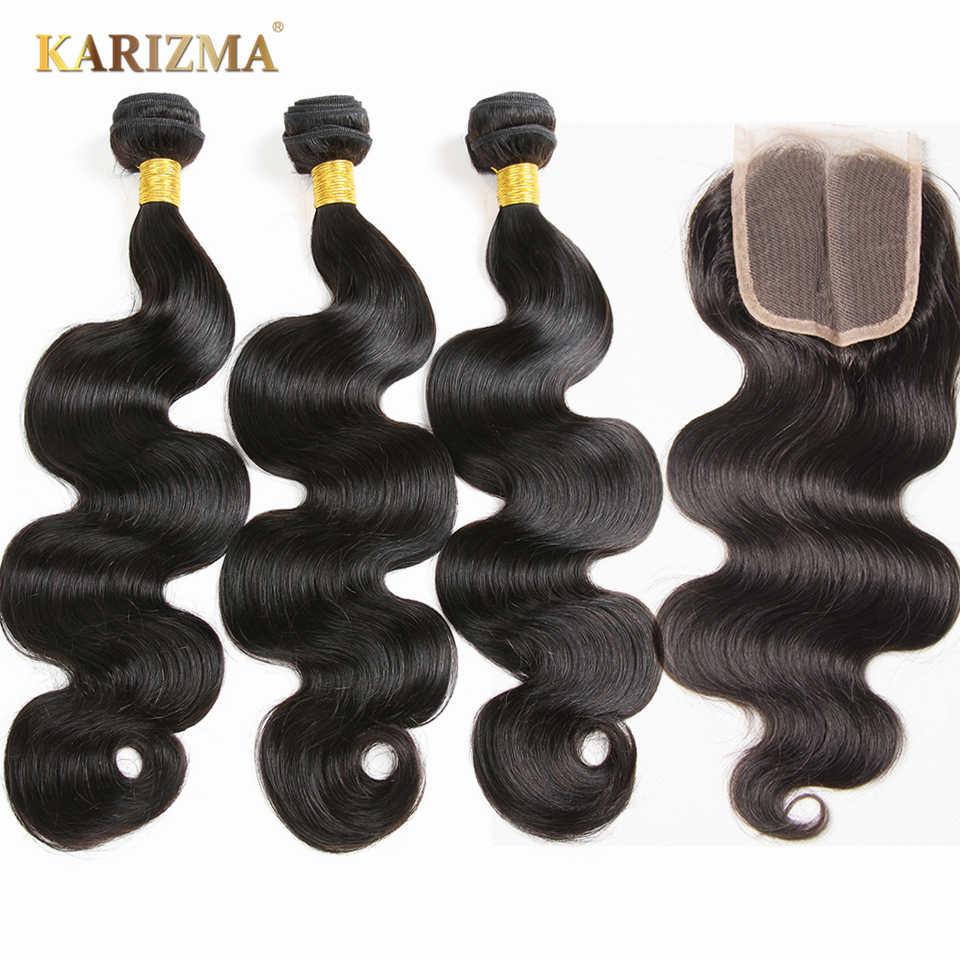 Mechones brasileños de onda del cuerpo con cierre de pelo humano remy 3 mechones con cierre 100/pc extensiones de cabello Karizma cabello brasileño