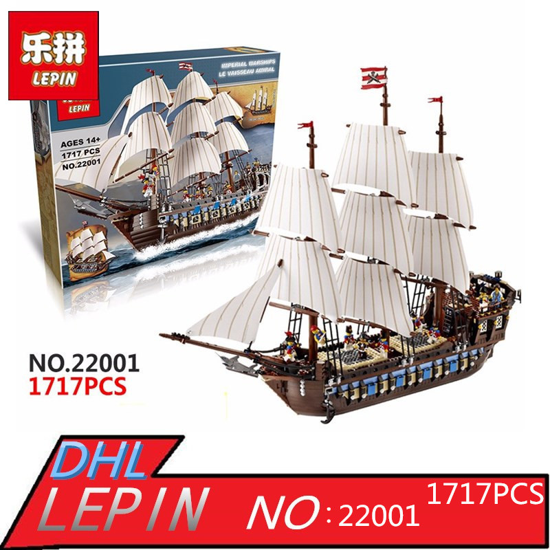 LEPIN 22001 Building Blocks Pirate Ship Imperial warships Building Kits Toys Gift lepin 22001 pirates series the imperial war ship model building kits blocks bricks toys gifts for kids 1717pcs compatible 10210