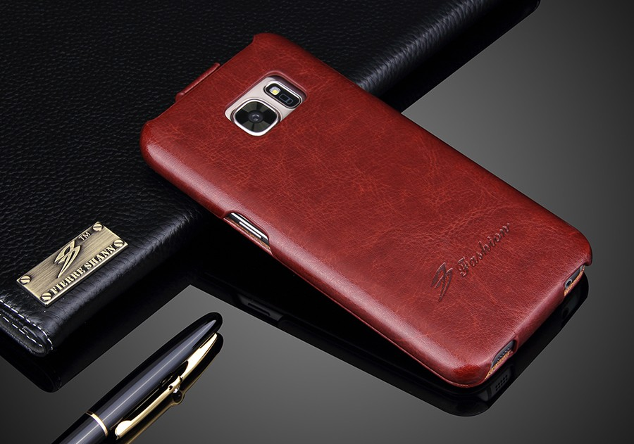 New Vertical <font><b>Flip</b></font> Genuine Leather Cover <font><b>Case</b></font> for <font><b>Samsung</b></font> Galaxy <font><b>S7</b></font> Brand Original Luxury Ultrathin Compact High Quality Coque image