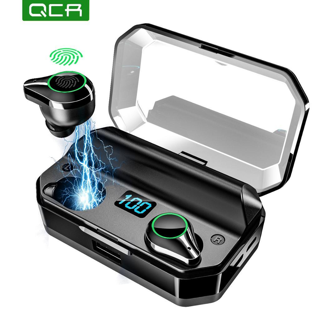 QCR 5.0 TWS Bluetooth Earphones 9D Stereo HiFi Wireless Headphone IPX7 Waterproof 7000mAh Power Bank With Microphone Touch Key