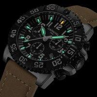 High end Хронограф Спортивные часы для мужчин карнавал Тритий световой Кварцевые часы пояса из натуральной кожи ремешок календари Relogio masculino
