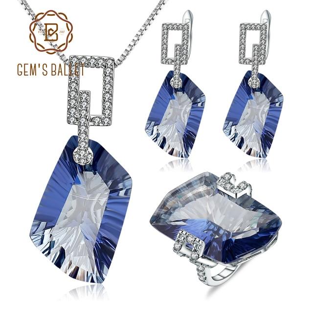 GEM'S BALLET 63.59Ct 925 en argent Sterling collier boucles d'oreilles bague ensemble naturel Iolite bleu mystique Quartz bijoux ensemble pour les femmes