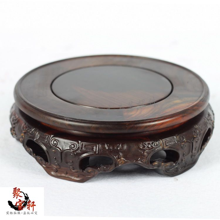 Red rosewood carving handicraft annatto circular base of real wood of Buddha stone vases, furnishing articles sending rope rooster mascot guard natural obsidian statue of the buddha real life