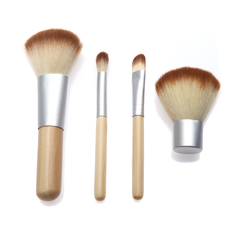 4PCS Real Bamboo Makeup Brushes Set of Brushes For Makeup Beauty Cosmetics Travel Make up Tech with Powder Contour Kabuki Brush -in Makeup Brushes & Tools ...