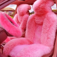 5Pcs Set Car Front Seat Cover & Fur Car Seat Steering Wheel Cover Pink Wool Winter Essential Universal Furry Fluffy Thick Faux