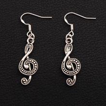 G Treble Clef Music Note Earrings 925 Silver Fish Ear Hook 40Pairs Antique Silver Chandelier 45.7x11.2mm E1629 40pairs antique silver filigree heart cross religious earrings 925 silver fish ear hook jewelry e425 20 5x45 3mm