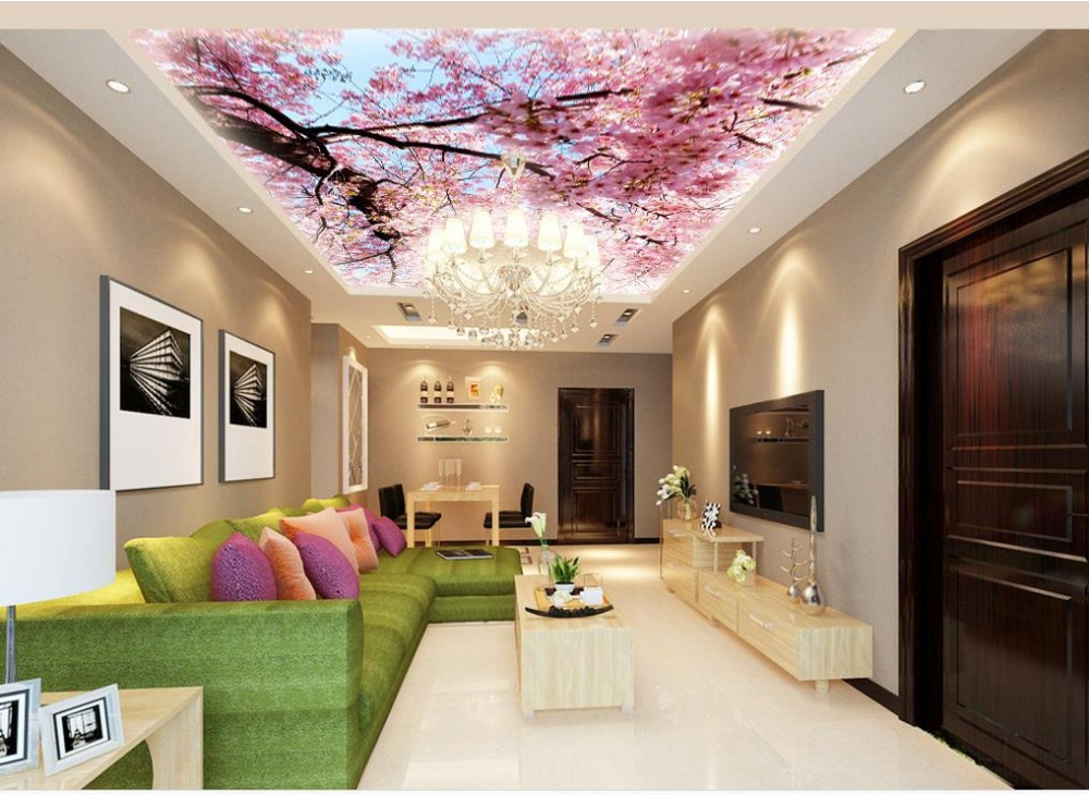 Custom photo wallpaper 3D stereoscopic Peach blossom Zenith Ceiling 3d wallpaper modern for living room murals in Wallpapers from Home Improvement