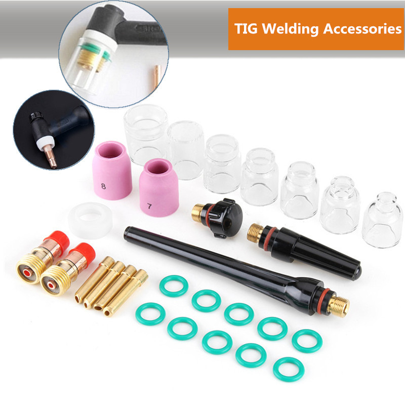 Best Promotion 29Pcs TIG Welding Stubby Gas Len For WP-17/18/26 TIG Welding Accessories Durable TIG Welding Torch Kit wp 17v sr 17v tig welding torch complete 26feet 8meter soldering iron gas valve control air cooled 150amp