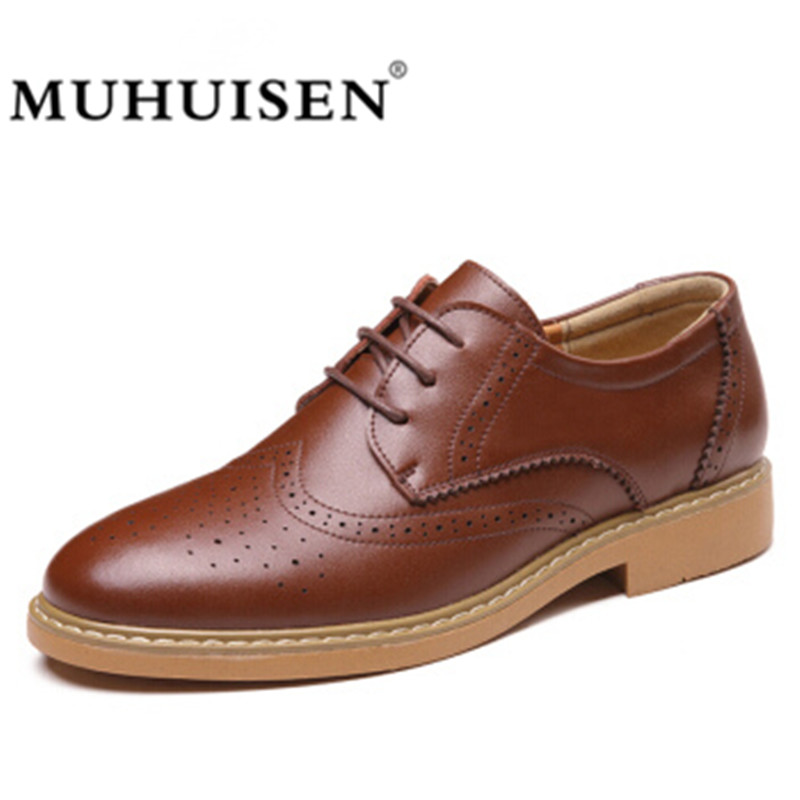 MUHUISEN Men Brogue Formal Shoes Spring Autumn British Fashion Mn Flats Round Toe Cow Split Vintage Style Genuine Leather Shoes