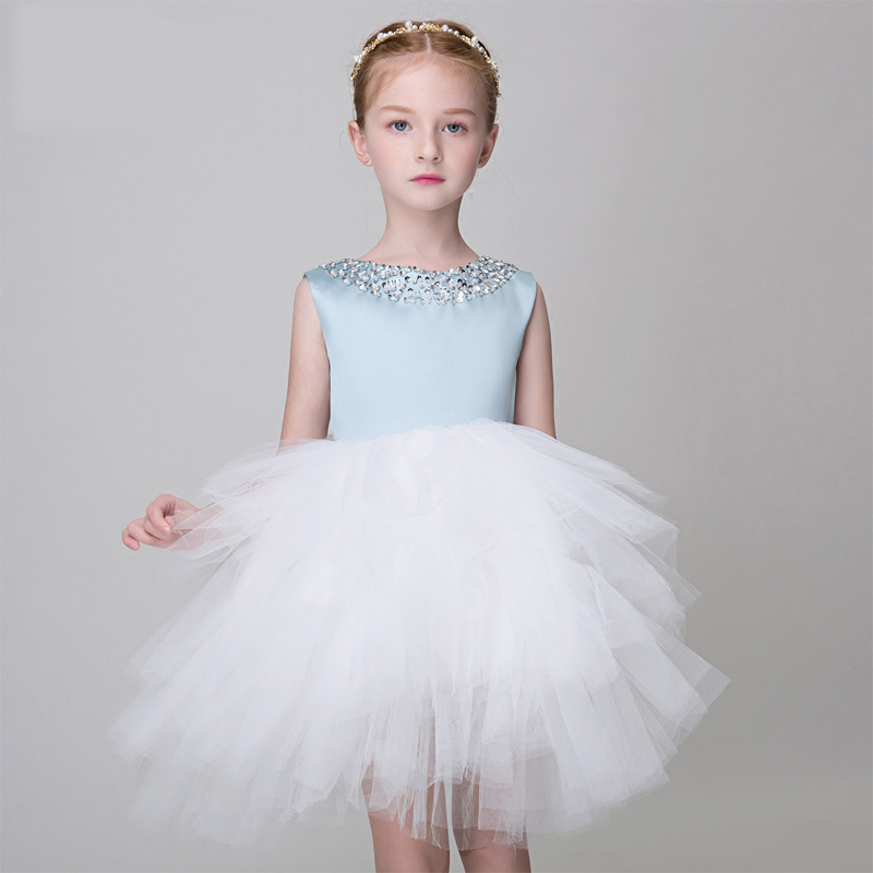 Hot Sale Summer 2017 Elegant Lace Appliques Prom Party Sweet Princess Kids Dress For Girls Luxury