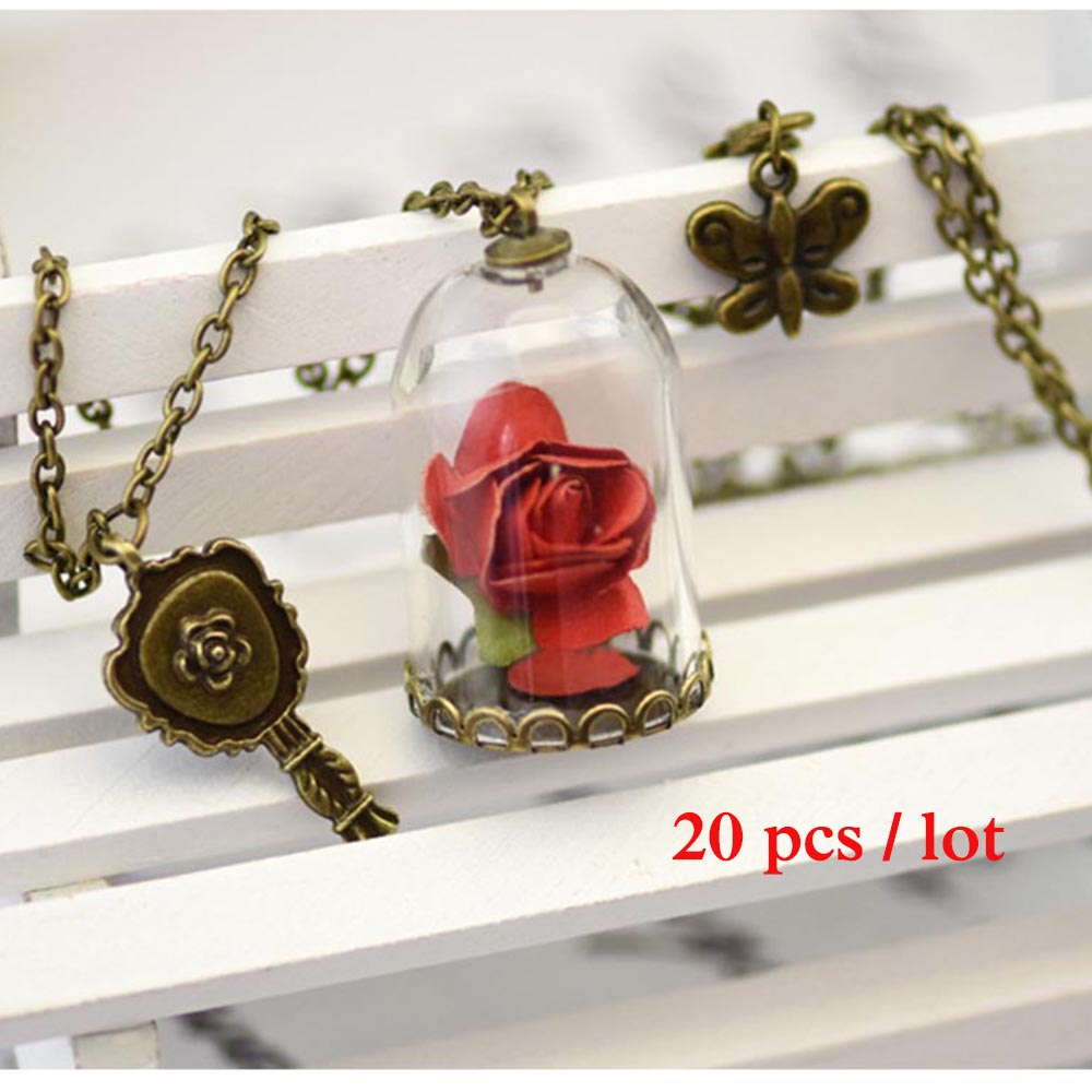 (20pcs ) 2018 New Beauty and the Beast Princess Belle Rose Pendant necklace chain glass rose flower Model cosplay accessary