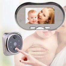 EU Plug 4.3″ Touch Screen LCD Digital Doorbell 160 Degree HD Wide Angle Peephole Viewer Night Vision Door Eye Doorbell Magic Eye