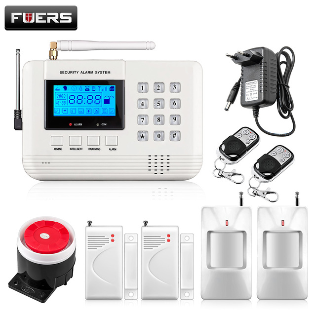 Cheap Fuers New 99 Wireless 2 Wired Defense Zones Security GSM Burglar Alarm System built-in Speaker Auto Dial Intercom Security Alarm