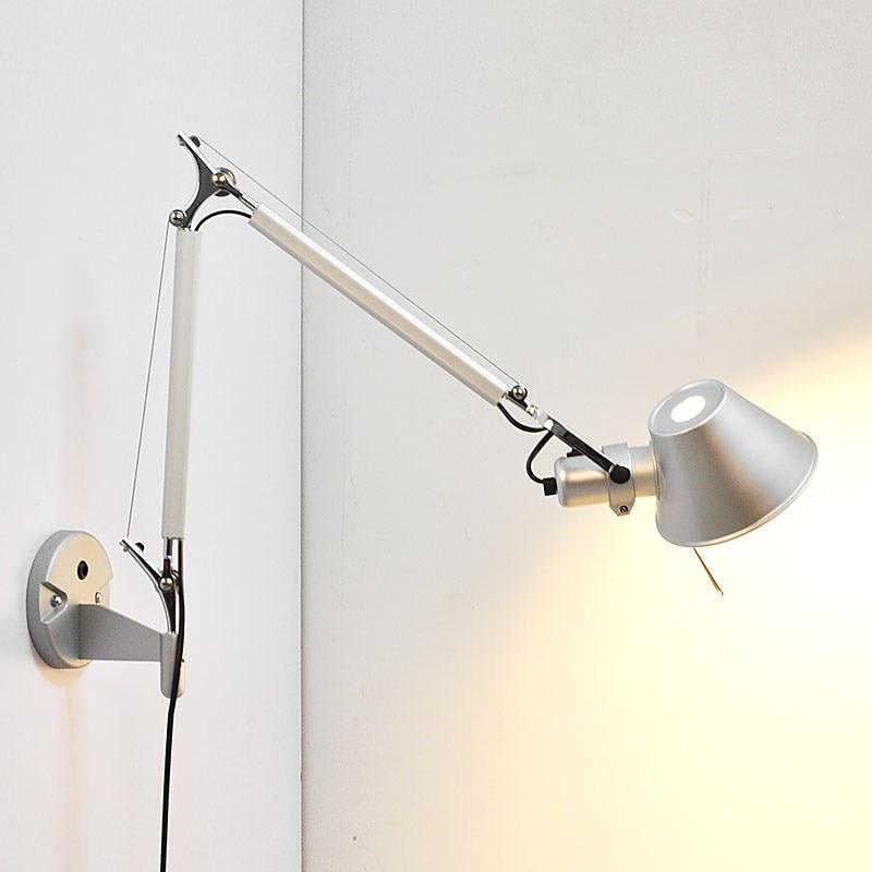 Simple modern Foldable wall lights long swing arm ...